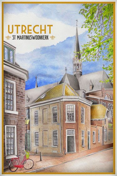 Travelposter of the city of Utrecht, the Netherlands - st Martinuswoonkerk -