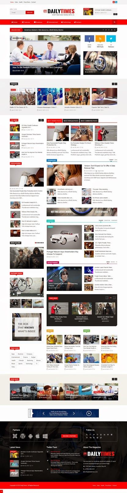 DailyTimes is a Responsive and Professional #Joomla News and Magazine template…