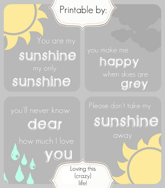 you are my sunshine  http://lovingthiscrazylife-melissa.blogspot.com/2012/04/you-are-my-sunshine-my-only-sunshine.html