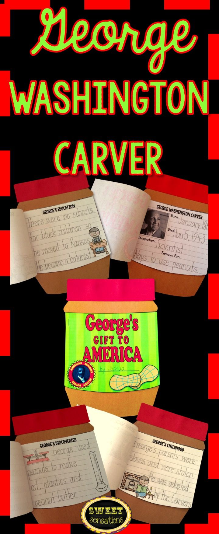 Black History month craft activity for George Washington Carver - student make a peanut butter jar book with several options for pages.  $4.00