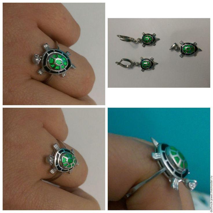 Купить Комплект из серебра Черепаха - серебряный, черепаха, кольцо-черепаха, черепаха из золота, необычное кольцо