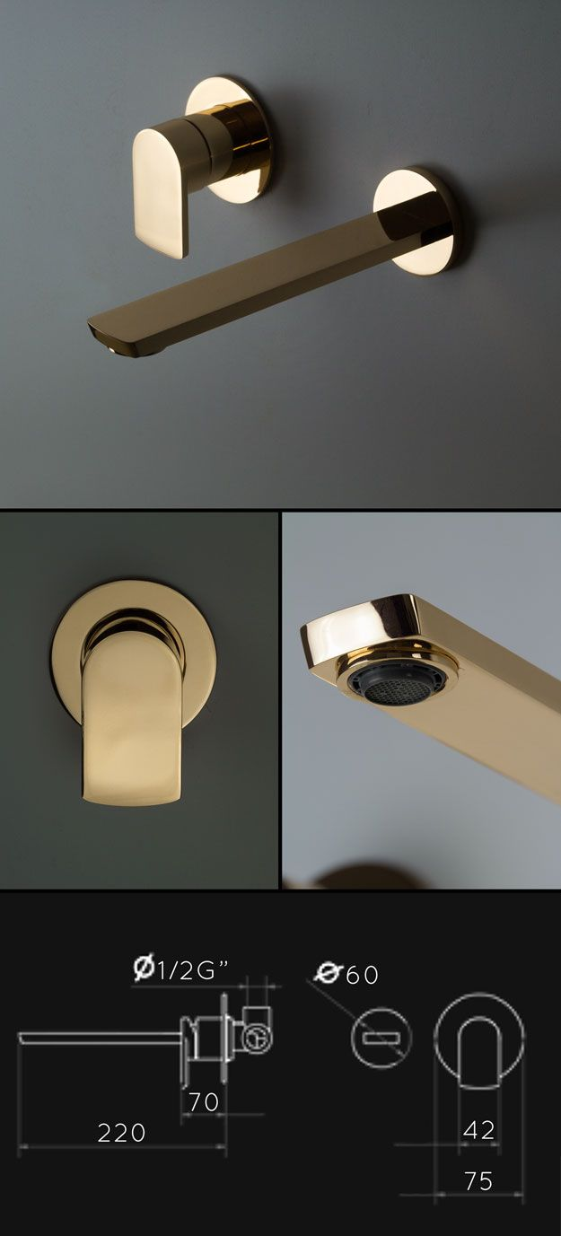 Kara Gold Wall Mounted Basin Taps (52BB)