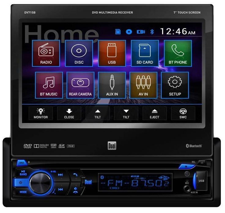 dv715b dual single din bluetooth dvd car stereo 7. Black Bedroom Furniture Sets. Home Design Ideas