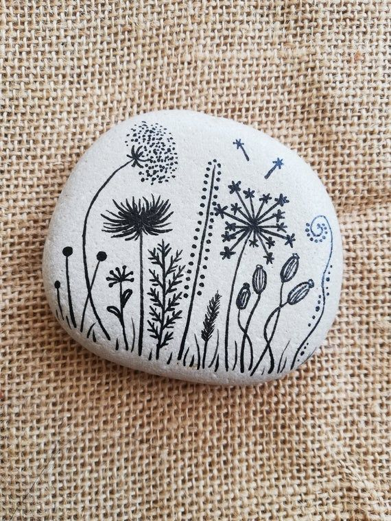 Painted Stones Pebbles With Nature Designs White Black Etsy Rock Painting Patterns Stone Art Rock Painting Art