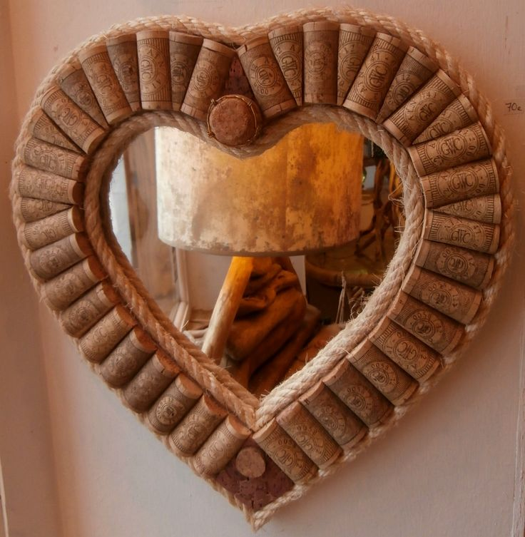 Heart shaped mirror framed with upcycled wine corks