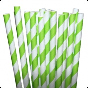 Stripe Lime Green Paper Party Straws - $3.75 per 25 pack