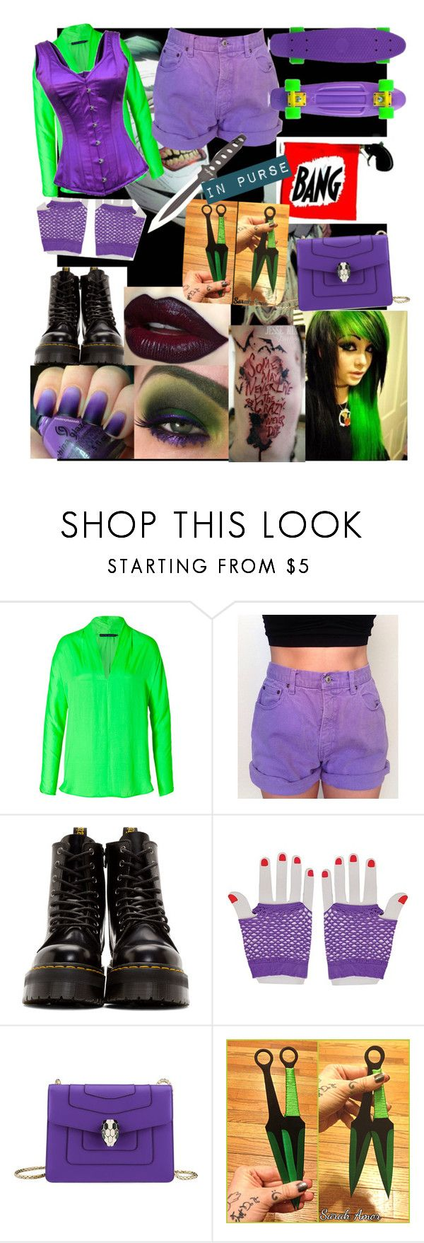 """""""Modern Female Joker"""" by that-goth-girl ❤ liked on Polyvore featuring Ralph Lauren Blue Label, Dr. Martens, Bulgari and modern"""