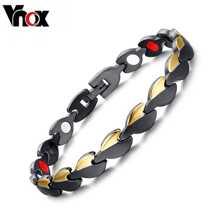Fashion Mens/Womens Healthy Bracelets  Bangles Magnetic Power Stainless Steel GoldBlack Plated Bracelet Jewelry