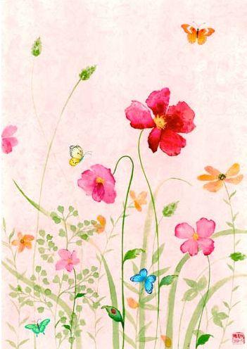 GORGEOUS!Flower Painting, Colors Flower, Spring Flower,  Hankey, Flower Art, Flower Fields,  Hankie, Watercolors Painting, Chris Chun