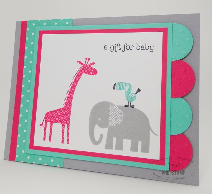 A Gift for Baby, Zoo Babies from Stampin' Up! Baby Shower/Baby Card from Delaney at Swish and Stamp