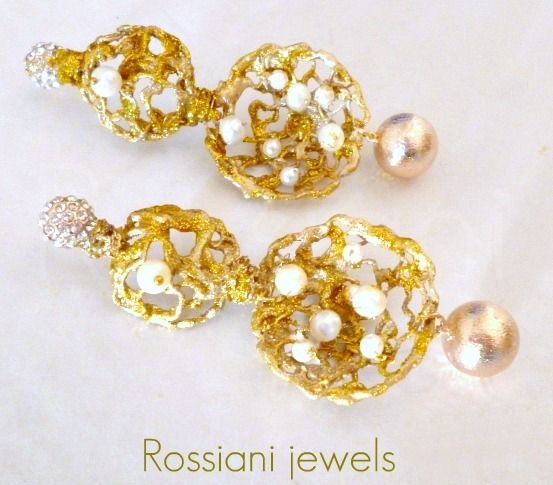 Glamorous nets - Silver plated, mixed pearls, strass - Rossiani Jewels - Italian handmade jewels - Made in Italy