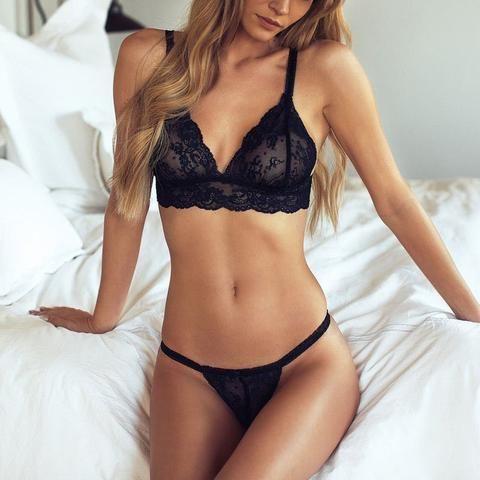 Sexy Women Deep V Neck Bras Openwork Lace Suspenders Thongs Unpadded Brassiere S…