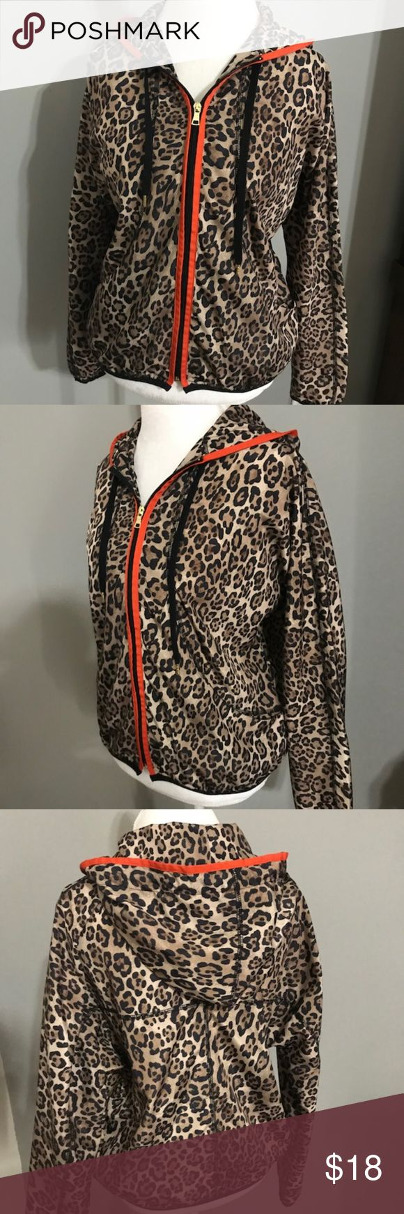 Ruby Rd. Animal Print Light Weight Jacket Size M Super cute light weight animal print zip up jacket with orange trim in great shape! This jacket has a draw string hood and 2 front pockets. Made of 100% polyester (swishy material). Length is 22.5 inches and across the chest is 23.5 inches. Ruby Rd. Jackets & Coats