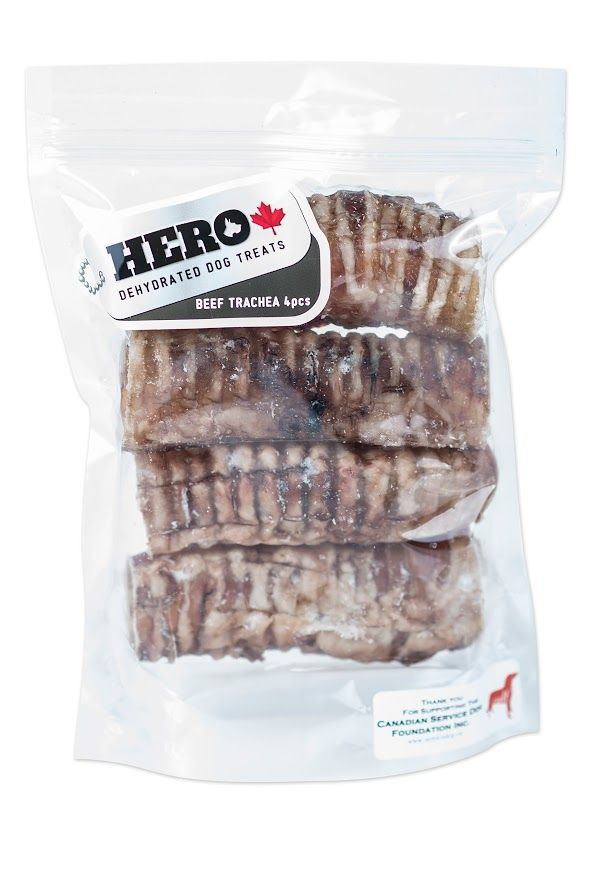 Beef Trachea - 4Pcs  11.99 HeroDogTreats™ Beef Trachea is a great dehydrated 100% natural crunchy snack, packed with glucosamine & chondroitin excellent for joint health.
