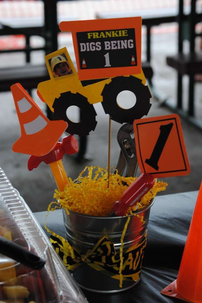 Construction birthday party centerpieces!  See more party planning ideas at CatchMyParty.com!