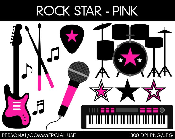 Girl Rock Star Clipart Digital Clip Art Graphics by MareeTruelove