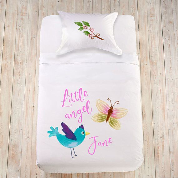 Butterfly bedding set Toddler duvet cover Baby shower gift Custom bed linen Cute bedding Watercolor bedding with birds Girl Crib bedding set  Perfect baby shower, birthday gift or a lovely surprise on any other little ones happy occasion! High quality 100% organic cotton or 100%