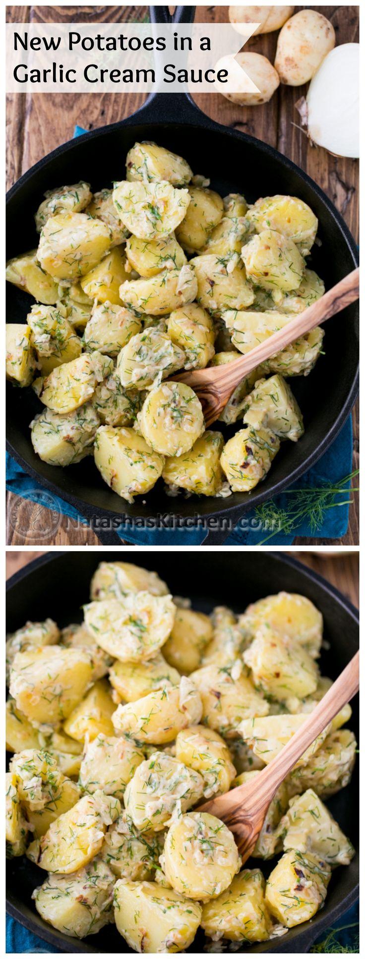 New Potatoes in a Garlic Cream Sauce | @natashaskitchen