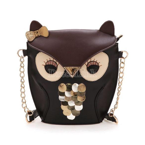 Women's Splicing Color Cross Body Bag Owl Pattern