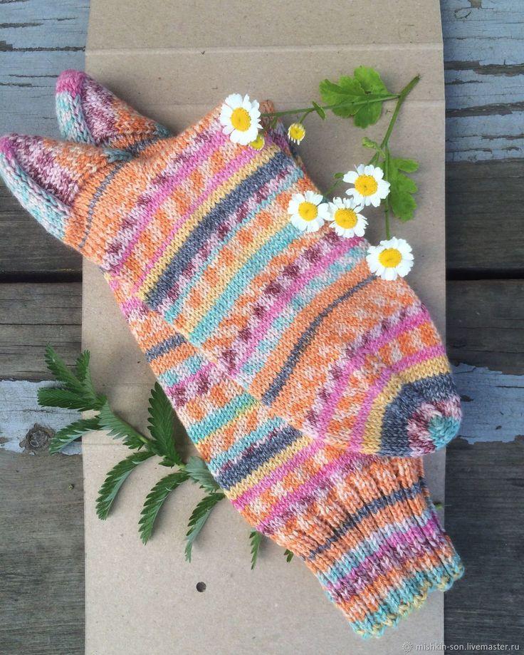 """Купить Носки """"Август"""" - абстрактный, оранжевый, носки, носки вязаные, носки спицами, носки женские"""