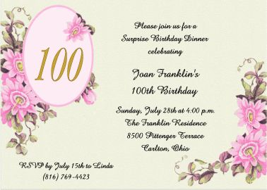 11 best 100 years old images on pinterest anniversary cards 100th birthday invitations bookmarktalkfo Images