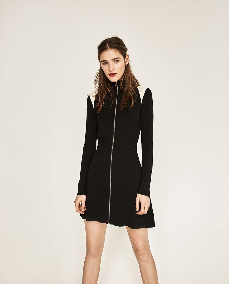 Image 1 of HIGH NECK ZIPPED DRESS from Zara