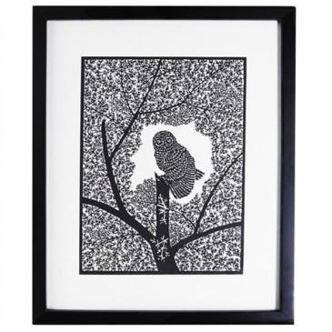 Owl in Tree PaperCut Artwork