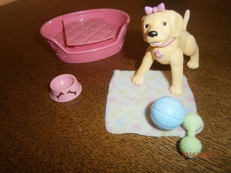 Puppenstube / Puppenhaus / Barbie Hund Futternapf Decke Knochen Schlafplatz