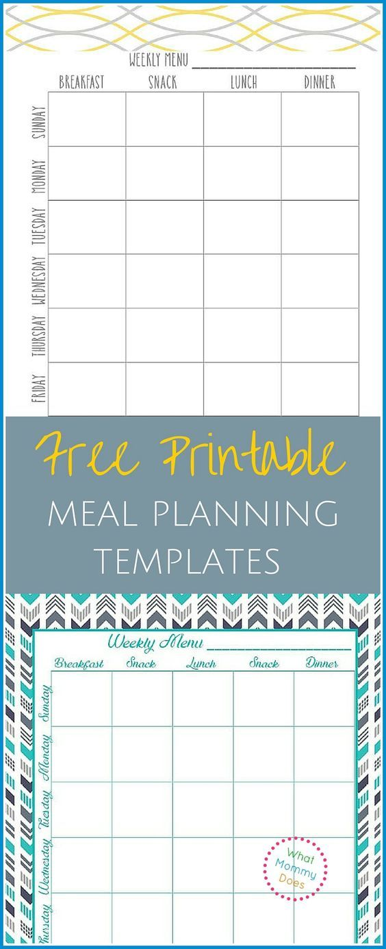 Free Printable Weekly Meal Planning Templates (and A Weeku0027s Worth Of Themed  Meal Night Ideas  Menu Planner Template Free