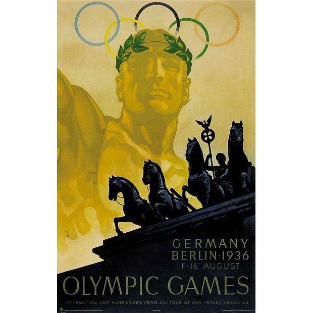 1936: Berlin, Germany   Wagnerian Götterdämmerung meets robot-age pseudoclassicism in this poster for    the most controversial of all Olympics, staged by Hitler as a showcase for    German sporting and technical mastery – though in the event it didn't work    out quite the way he hoped.    While Germany had won the Olympic bid before Hitler came to power, the Nazi    administration backed them with the most ruthlessly efficient publicity    campaign seen at any games to date, with 44…