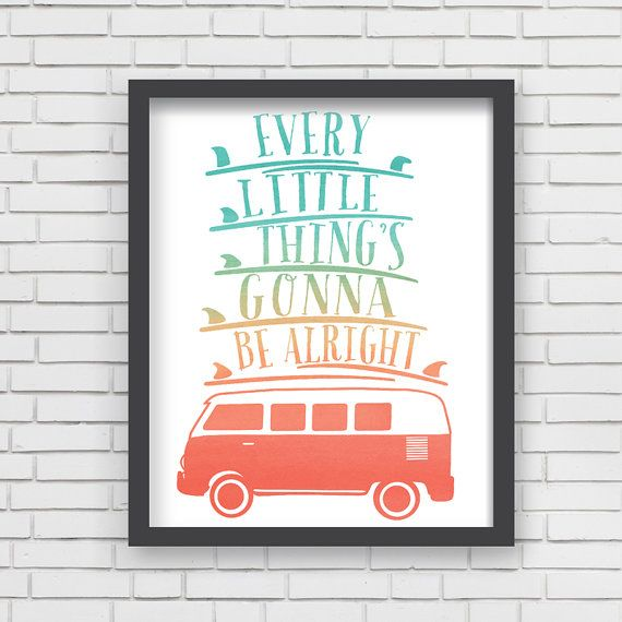 Watercolor Surfing Home Decor Surfboard Nursery Wall Art - Every Little Thing Art Print - 8x10 or 11x14
