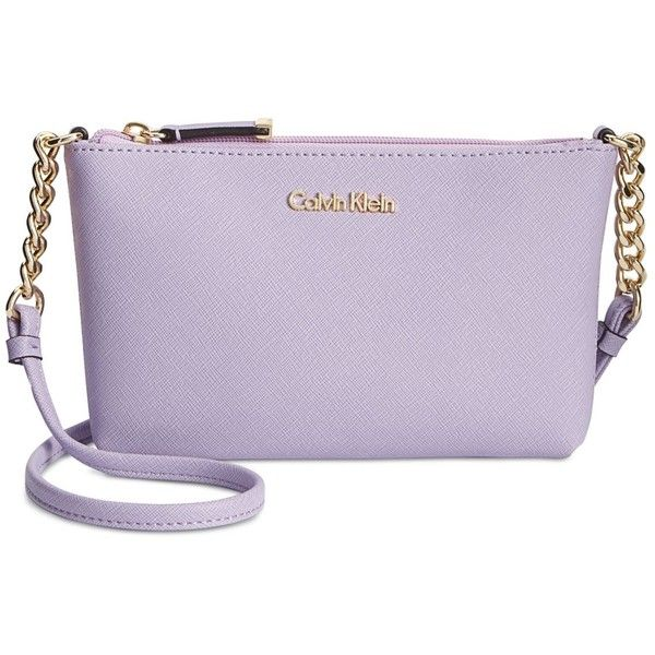 Calvin Klein Mini Saffiano Crossbody ($88) ❤ liked on Polyvore featuring bags, handbags, shoulder bags, iris, chain shoulder bag, purple handbags, calvin klein crossbody, mini purse and crossbody handbags