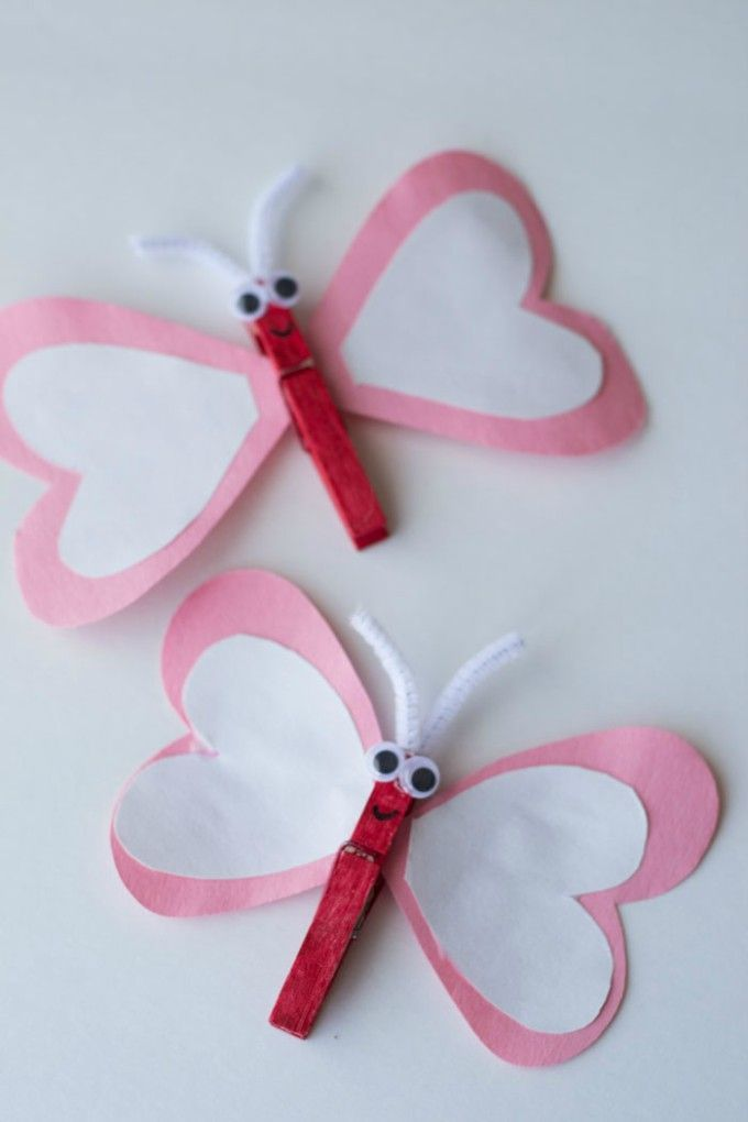 This heart butterfly is an easy valentine craft for kids.