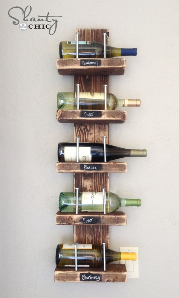 7. Super cute Wine Rack! #DIY This is an easy DIY project with great impact and also veryinexpensive. I probably would paint mine. If the wall is painted, I would paint the rack white so that the bottles can show nicely. If the wall is white, I probably would paint it a light grey.