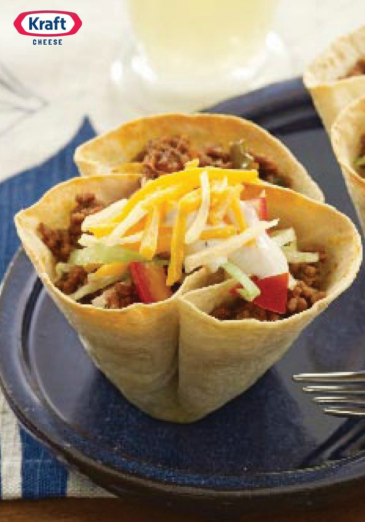Mini Taco Bowls — The kids will dig taco night even more when they get an eyeful of these super-cute mini salad bowls—and a mouthful of beef, cheese, ripe tomatoes and crispy, fresh lettuce.