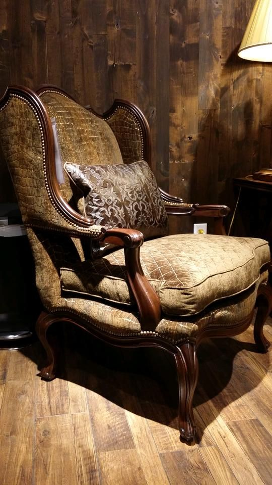 The Elegant Curves Of This Beautiful Accent Chair Give Its Rustic Style A  Softer Edge,
