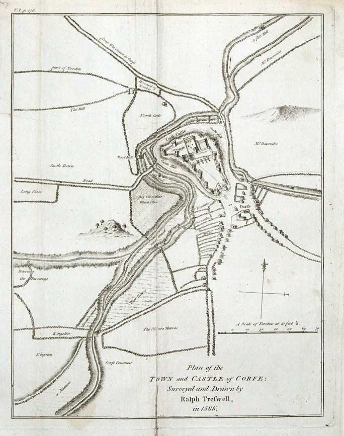 Plan of the TOWN CASTLE OF CORFE Surveyed and Drawn by Ralph Treswell in 1586 Published by W Bowyer and J Nichols London 1774 in John Hutchin s The