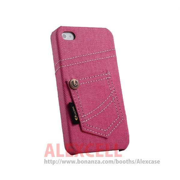 Denim Jeans case for Iphone 4/4s Pink Jeans (get 1 plastic case free)