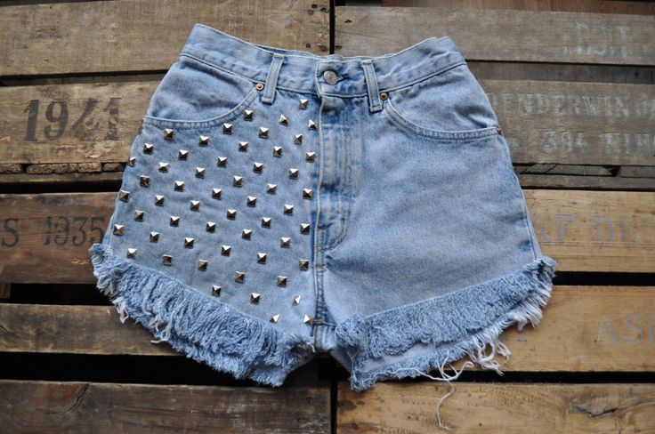 www.viewfromthemoon.co.uk High waisted denim shorts with major studding and a gigantic sized fray!
