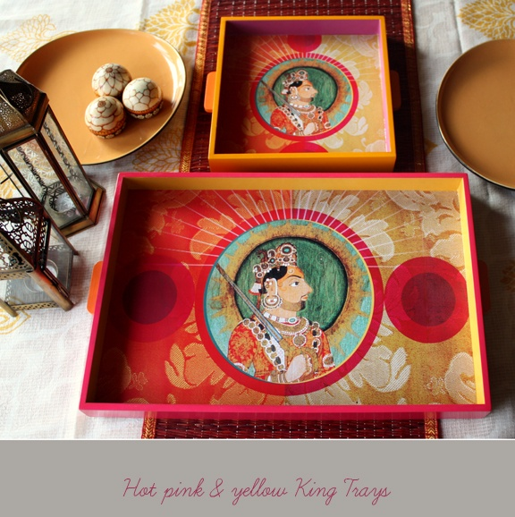 The Rajasthan Royals trays, new work by Vineeta of Artnlight.