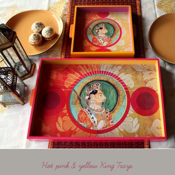 The Rajasthan Royals trays, new work by Vineeta of Artnlight.