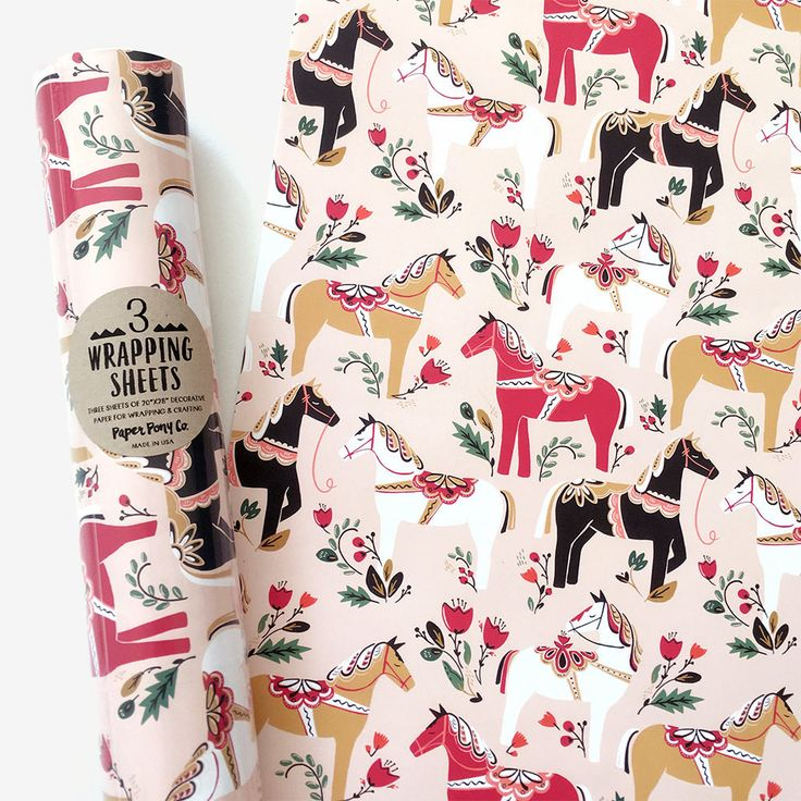Christmas Wrapping Paper - Ponies This original gift wrap paper is made in the USA and professionally printed on FSC certified paper. Also great for getting creative with art projects, crafting, and d