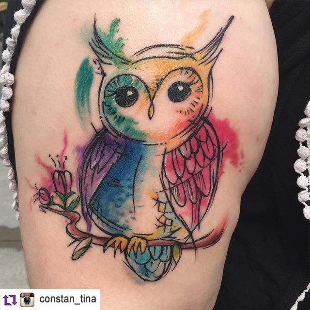 Owl watercolour tattoo