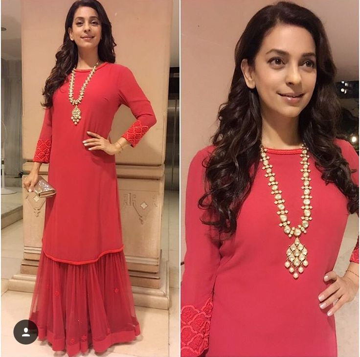 Love this simple yet classic creation worn by juhi chawla... Pretty hue to red...