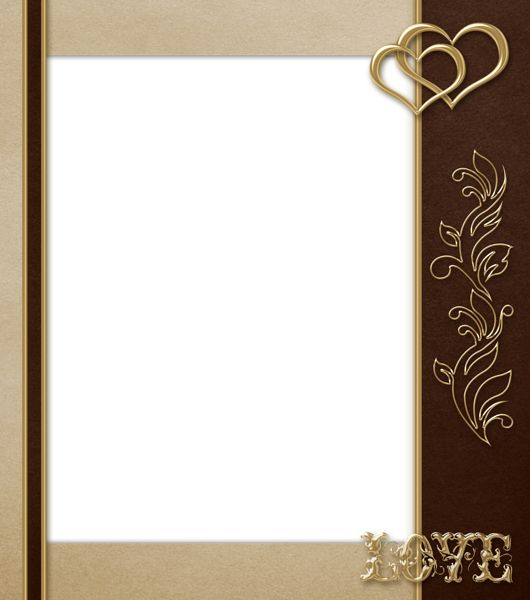elegant transparent brown with gold love png frame