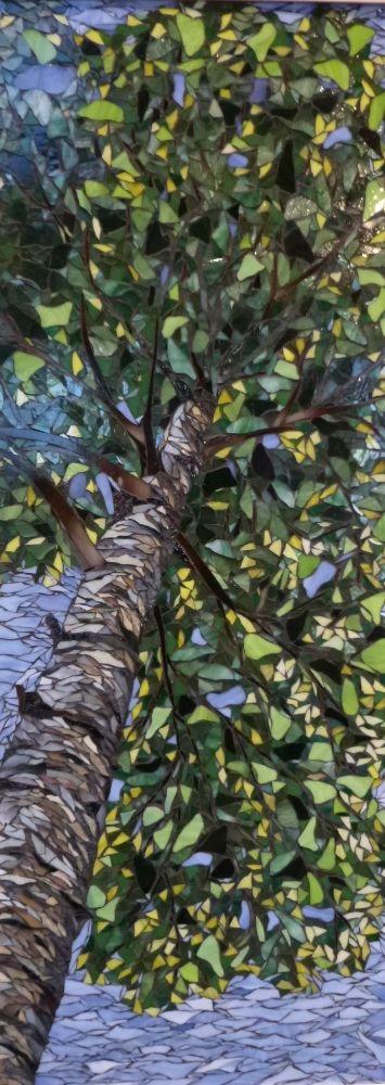 Skyward Birch - Spring 48 x 18 - Mosaic by Debra D'Souza