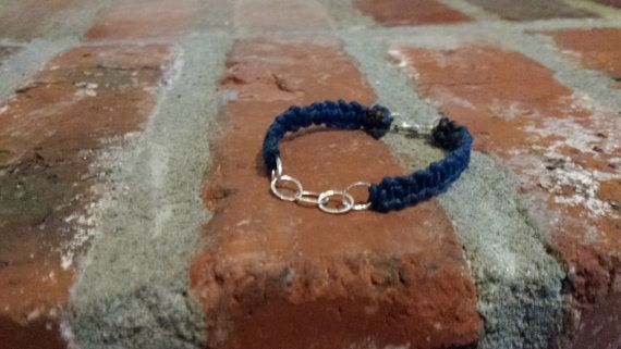 Macrame bracelet with sterling silver chain and handmade sterling silver clasp. This beautiful creations proceeds go towards a well drilling