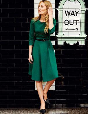 Ponte Skater Dress in emerald green @boden