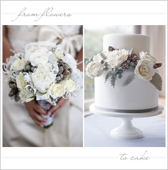 Floral Inspired Winter White Wedding Cake