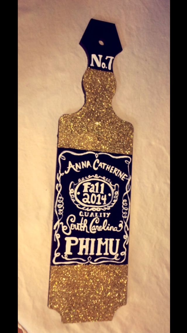 Jack Daniels theme sorority paddle. Phi Mu paddle. Phi mu crafts. Sorority crafts. Glitter. Gold glitter. Hand painted. Great for big little or initiation! The No. 7 is because I was initiated on November 7th ☺️